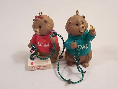"1992 Hallmark Keepsake Ornament Miniature ~ Mom & Dad Beavers ~ 2"" Tall"