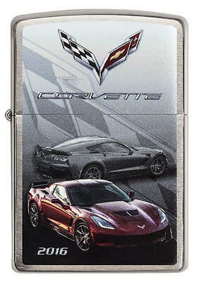Zippo Chevrolet Corvette 2016 Z06 brushed Chrome Custom Lighter Very Rare NEW