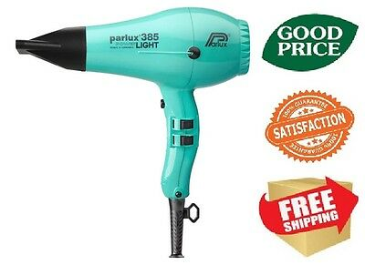 Parlux 385 Power Light Ceramic & Ionic Hair Dryer - Aquamarine NEW FREE SHIPING