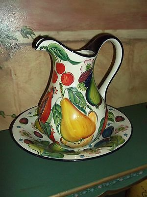 "2004 J. McCall 11"" Pitcher & 13"" Fruit Bowl Set Icing on the Cake Blue Sky  Mint"