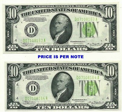 1934 $10 Cleveland Light Green Seal ~ One Note Of Two Consecutive Gem Crisp New