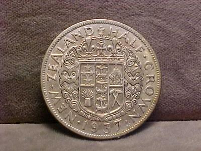 New Zealand ½ Crown Silver Coin 1937