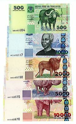 Tanzania …. P-35-39…. 500-10,000 Shillings ….ND(2003) …. Ch*UNC* Set of 5 Notes.
