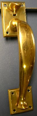 Vintage Entry Door Pull Handle with Thumb Latch - Solid Brass