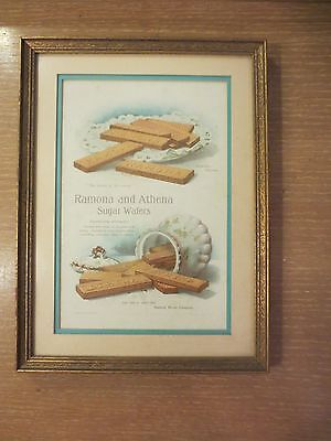 """Antique 1901 National Biscuit Co. """"ramona"""" And """"athena"""" Sugar Wafers Ad Framed"""
