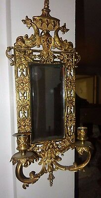 Circa 1890 Art Nouveau Brass Ornate (2) Candle Sconce Mirror with Dolphins  #2