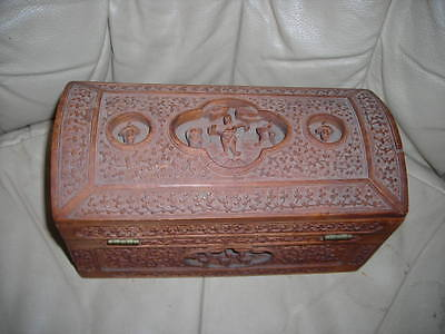 Stunning Ornate Antique Wood Hand Carved Chinese Box, Exceptional Detail 9X5X5