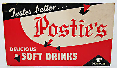 """Postie's Soda Delicious Soft Drinks Cardboard Advertising Sign 13"""" X 8"""" Rare"""