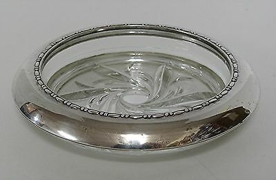 """Sterling Silver Etched Glass Ashtray by Amiston - 7"""" diameter"""