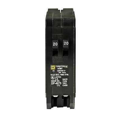 Square D Homeline 20-Amp 1-Pole Tandem Circuit Breaker Main Schneider Electric