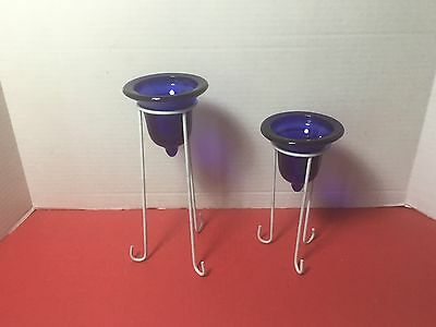 Set of 2 Vintage Cobalt Blue Glass Votive Candle Cup With Holders