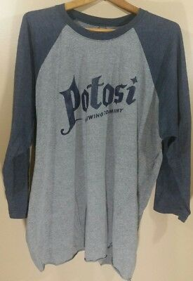 Mens Womens Potosi Brewing Company Gray Blue 3/4 Length Sleeve T Shirt Size 3x