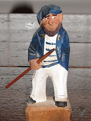 VINTAGE HAND CARVED-PAINTED WOOD-WOODEN SAILOR-WHALER w/ HARPOON FIGURINE-FIGURE