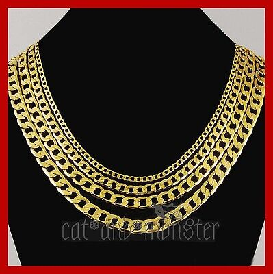 24K Yellow Gold Filled Flat Ring Curb Chain Womens Mens Solid 16-30Inch Necklace