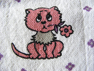 Vintage 1940's Fabric Cotton Pink Kitty Cats on White Background As is