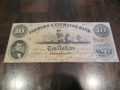 1855 $10 Farmers and Exchange Bank Note South Carolina