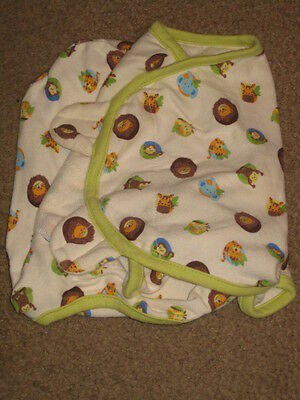 "Summer Brand Swaddle Wrap sz small ""Wild"" Animals on Ecru 100% cotton LN++++"