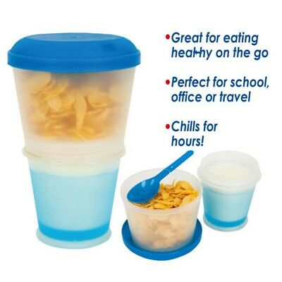 NEW Cereal To Go Milk Breakfast Stay Freeze On The Go Snack Healthy Eat MealBox