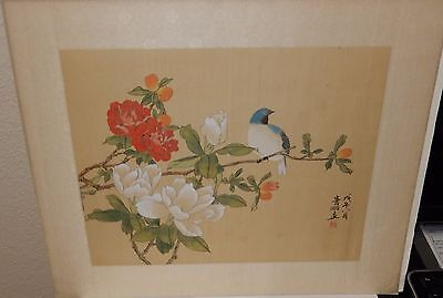 Japanese Floral Blue Bird Original Watercolor Painting Signed