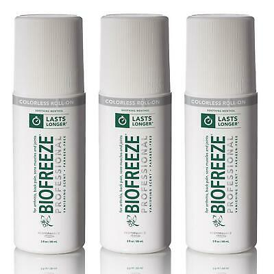 Biofreeze Professional Colorless 3oz Roll-On 3PK Pain Relief Arthritis CHOP