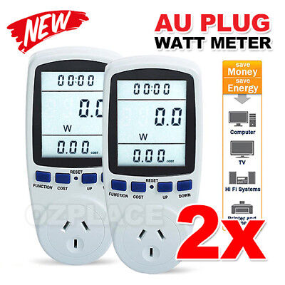 2X AU Plug Power Energy Consumption Watt Meter Electricity Usage Monitor Socket