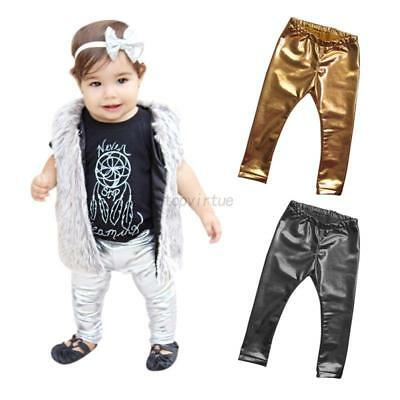 Infant Baby Kids Girls Boys Leather Long Pants Toddler Trousers Leggings 3-24M