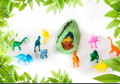 Large Dino Egg Bath Bomb with toy dinosaur inside Lush scented gift