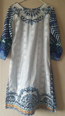 Beautiful stitched lawn shirt with dupatta in blue and white