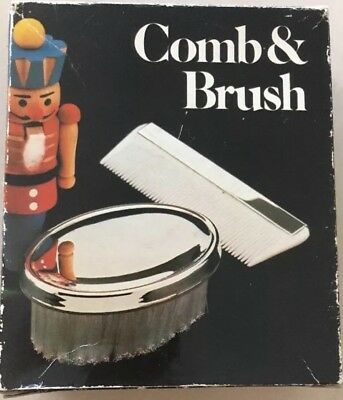 Vintage Boys Comb & Brush Set Silver Plated Military Style