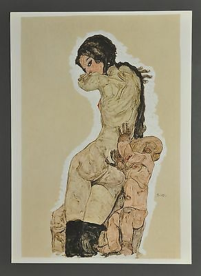 Egon Schiele Lichtdruck Collotype 36x50 Signed Mutter Kind Mother and child 1910