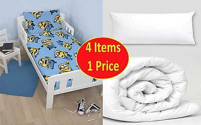 4 in 1 - DESPICABLE ME MINIONS JUNIOR BEDDING BUNDLE FOR COT TODDLER BOYS BED