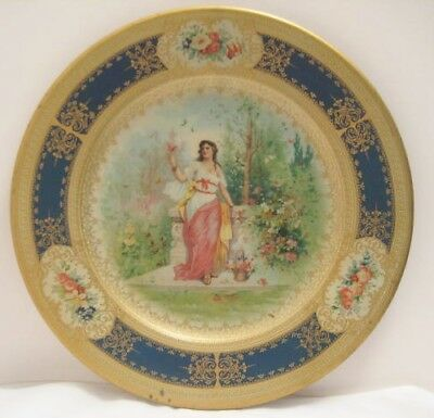 Antique Tin Adv Plate Woman w Butterfly Promoting Alderney Butter Color 1906