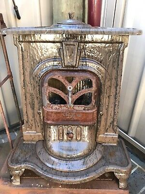 Vintage Metters Fireplace Wood Stove Heater Woodgrain Cast Iron