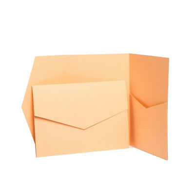 Apricot Matte Pocketfold WEDDING invitations with envelopes. Pocket wallets