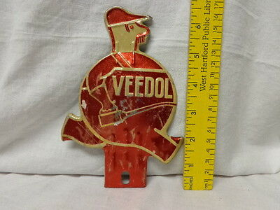 """1930's License Plate Attachment, VEEDOL Man, Metallic Red, 6.5"""" tall, Ex Cond"""