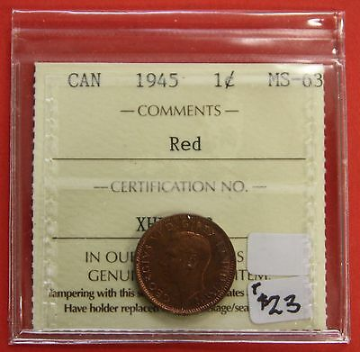 1945 Canada One Cent Penny Coin B238 - $23 ICCS MS-63 Red