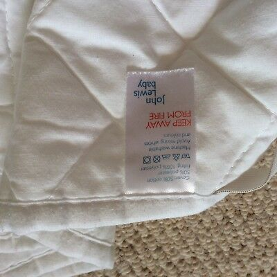 John Lewis Cot Bed Mattress Protector, White