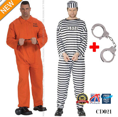 Mens Prisoner Convict Costume Halloween Fancy Dress Party Overall Jumpsuit Cd021