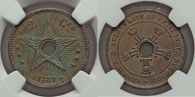 1887 Copper Coin Two Centimes Congo Free State or Belgian Congo Central Hole UNC