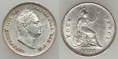 1936 Silver Coin England 1836 Four Pence Britannia Groat William IV Facing Right