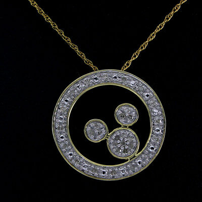 1/4 Ct Round Cut Diamond 14K Yellow Gold Over Mickey Mouse Circle Pendant Chain