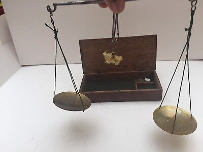 Antique Boxed Antique Medical Apothecary Pharmaceutical Brass Scales & Weights