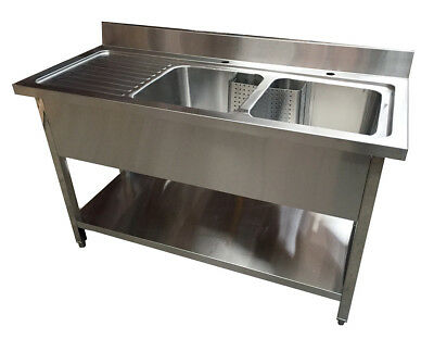 1600 Double Bowl Sink Unit with Left Hand Drainer
