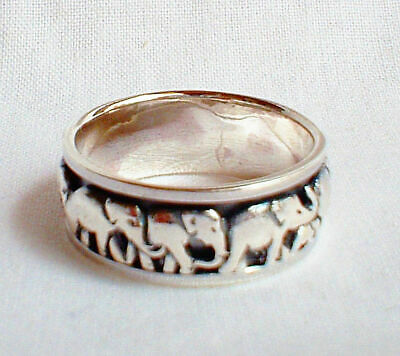 Lucky Elephant Spinning Spinner Worry Ring Solid Sterling Silver Jewellery Reiki
