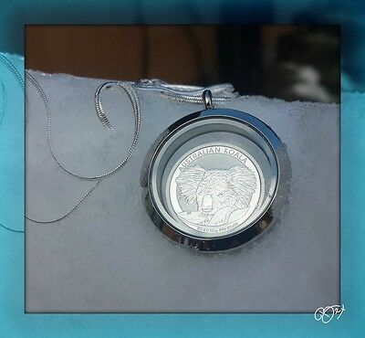 2014 1/10 oz  BU Silver Australia Koala Coin  in WATERPROOF Locket with SS Chain