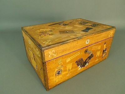 Antique Inlaid Wooden Gaming Tobacco Box, c. 1890-1900