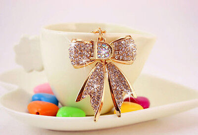 Rhinestone crystal bling 3D bowknot charm Car Purse Key chain ring party gift