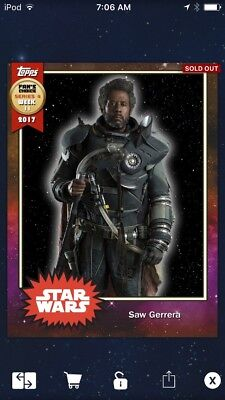 Topps Star Wars Digital Card Trader Saw Gerrera Fan's Choice 4 Meld Insert