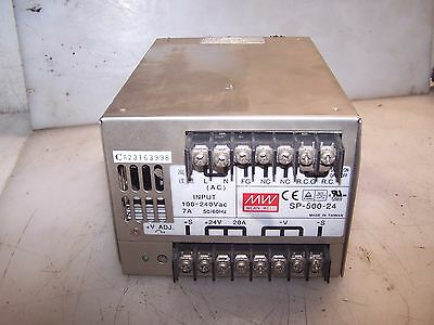 Mean Well 24 Vdc 20 Amp Output Dc Power Supply Sp-500-24   Input 100-240 Vac