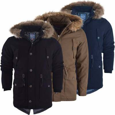 Mens Heavy Weight High Quality Cotton Parka Winter Coat Fur Fishtail Long Jacket